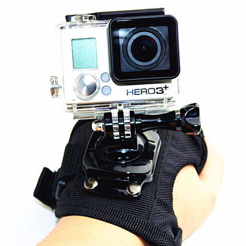 Camera Rotating Wrist Strap 360 Degree Glove Style Wrist Band Hand Mount Strap Holder For GoPro Hero 4 3+ 3 2 1 Large Size Black
