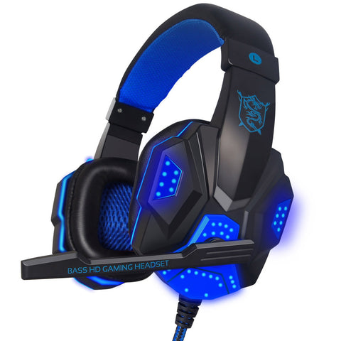Gaming Big Headset Wired Headband Headphones with Mic/LED Light Over Ear Stereo Noise Reduction Auriculares for Computer Gamer