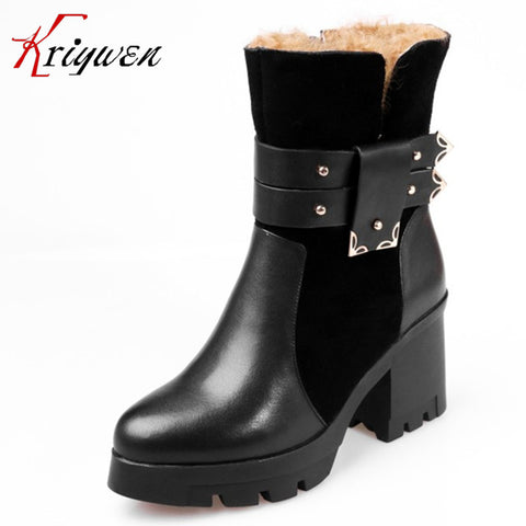 100% Genuine leather women shoes winter femmes botas plush solid mid-calf boots thick high heels buckle motorcycle snow boots