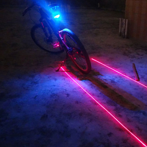(5LED+2Laser) Bicycle Rear Light Laser Tail Bike Light Cycling Safety Warning  Bicycle Accessories