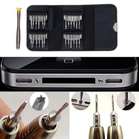 25 in 1 Repair opening Tool Kit Aid Pentalobe Torx Phillips Screwdrivers Set for  iPhone PC Camera Watch
