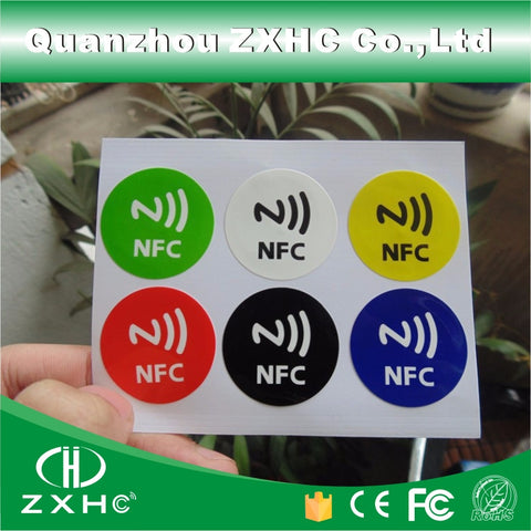 (6pcs/set) Waterproof PET Material 6 Colors NFC Stickers Smart Adhesive Ntag213 Tags Compatible with All Phones