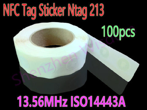 100pcs Ntag213 NFC Tags 13.56MHz ISO14443A NFC Sticker Ntag 213 All NFC Phone Available RFID NFC tag Stickers Adhesive Labels