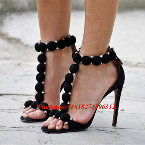 Fashion T-bar High Heels Women's Sandals Open Toe Sexy Summer Rihanna Party Shoes Pom Pom Buttoned Straps Studded Suede Sandals