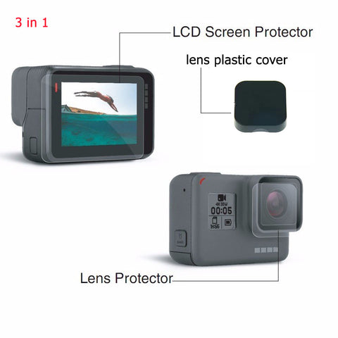 New! 3 in 1 Gopro hero 5 Accessories lens Screen Protector Cover Lens Protecive Film For Gopro hero 5 gopro 5 black camera