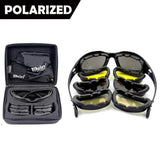 New Daisy C5 Polarized Army Goggles, Military Sunglasses 4 Lens Kit, Men's War Game Tactical Glasses Outdoor Sports Set of 9