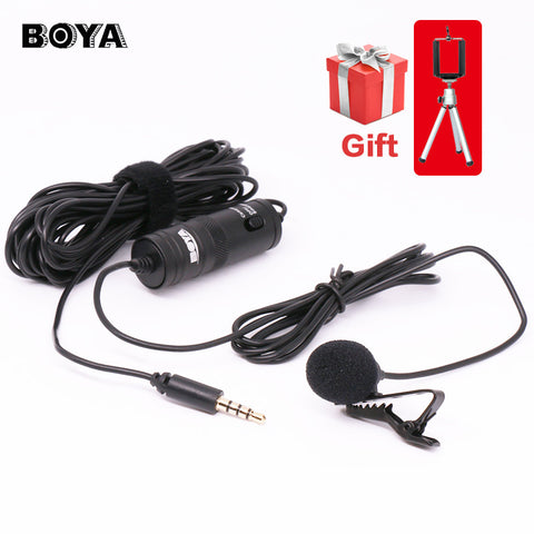 BOYA Lavalier Omnidirectional Condenser Microphone for Canon,for iPhone 7 6s Plus DSLR Camcorder Audio Recorders Label Lav BY-M1