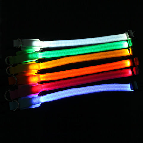 NEW Small-Scale Safety Pet Dog Collar 18-28cm LED Nylon Collar Light-up Flashing Glow