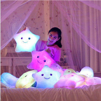 Luminous Juguetes Star Glowing Pillow Christmas Toys For Children Led Light Plush Cushion Star Pillow Kids Toys For Girls