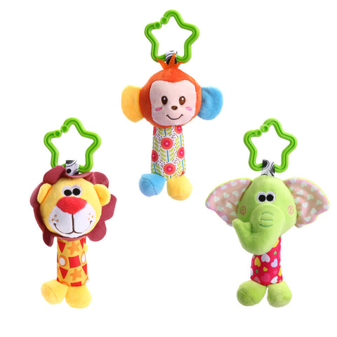 Newborn Baby Infant Cute Animal Handbells Baby Rattle Developmental Bed Bells Toys Crib Stroller Bed Hanging Plush Stuffed Toy