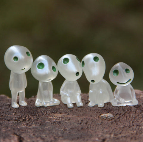 5Pcs/set Kawaii Luminous Tree Elves Toy Miyazaki Cartoon Princess Mononoke Action Figure Toys Kids Gifts