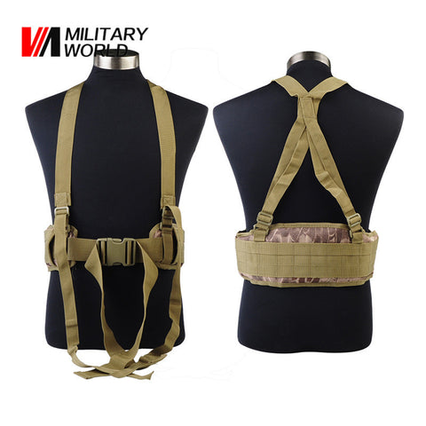 Outdoor Sport Molle Airsoft Tactical Military Waist Padded Belt With H-shaped Suspender Nylon Cummerbunds High Quality For Men