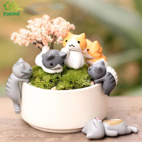 6 Pcs/Set Cute Cartoon Lazy Cats For Micro Landscape Kitten Microlandschaft Pot Culture Tools Garden Decorations