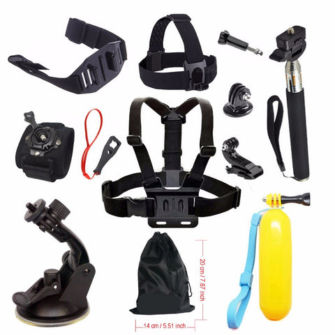 Accessories kit For Gopro hero 4 5 SJCAM SJ4000 Floating Bobber Chest Head Hand Mount Strap Car Suction Mount Selfie Stick 57