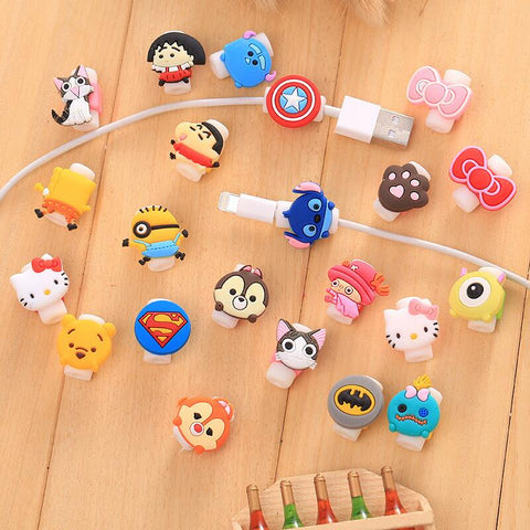 10pcs/lot Cartoon Cable Protector Data Line Cord Protector Protective Case Cable Winder Cover For iPhone USB Charging Cable