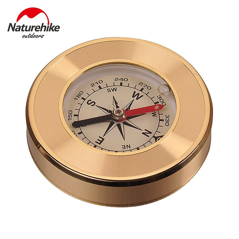 NatureHike Mini Military Camping Marching Lensatic Compass Magnifier Gold Wild Survival Navigation Noctilucent High Quality