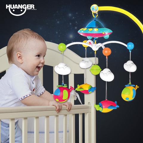 Huanger Baby bed bell 0-1 year old newborn 0-12months toy rotating music hanging baby rattle bracket set baby crib mobile holder