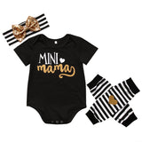 4PCS Set Newborn Baby Clothes Infant Bebes Short Sleeve Mini Mama Bodysuit Romper Headband Gold Heart Striped Leg Warmer Outfit