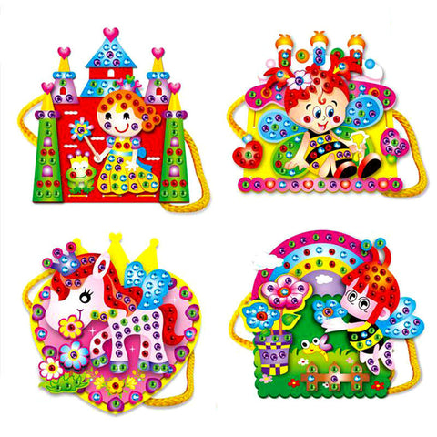 Colorful Assembly Toy Handbag EVA Cartoon DIY Hand-sewn Diamond Shoulder Bag Educational Handcraft Toy for Girls Random Pattern