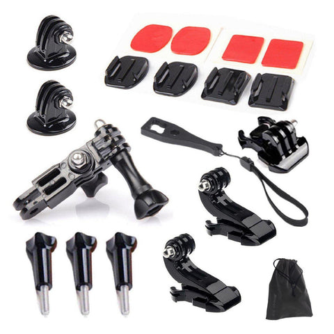 Gopro Accessories Set Kits Quick Base Adapter 3 Way Arm Tripod Mount for SJCAM SJ4000 SJ6000 GoPro 4 3 Xiaomi yi 4K Eken h9r