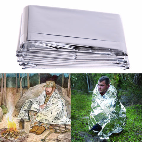 Outdoor 210*130CM  Life-saving Military Emergency Blanket Survival Rescue Insulation Curtain Blanket Silver Travel Kits H1E1