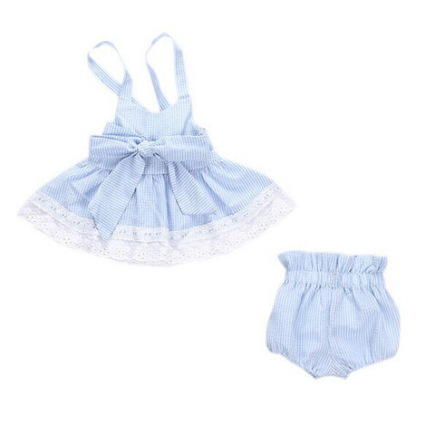0-24M Newborn Baby Girl Strip Lace Crop Top +Bowknot Bottom Shorts 2PCS Outfit Sunsuit Toddler Kids Clothing Set