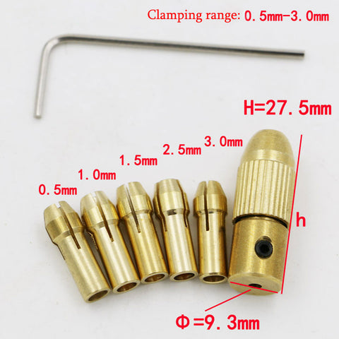5Pcs Mini Drill Chucks 0.5-3.0mm Fit For Micro Twist Electronic Dremel Drill Collet Clamp Set Power Tool Accessories With Wrench