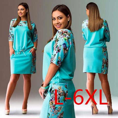 5XL 6XL Summer Dresses Big Size 2017 Fashion Elegant Women Half-Sleeve Print Dress Plus Size Casual Robe Office Dress Vestidos