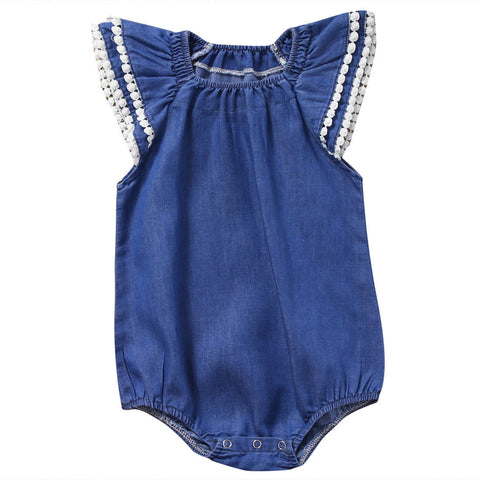 0-24M Newborn Baby Girl Romper Fly Sleeve Denim Clothes Cute Bebes Summer Outfit Sunsuit Jumpsut 2017
