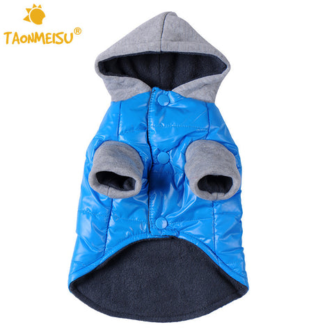 Pet Dog Clothes Blue Polyester Dog Jackets Windproof Winter Warm Pets Coat Doggy Cat Hoodies Outwear Clothing Free Shipping