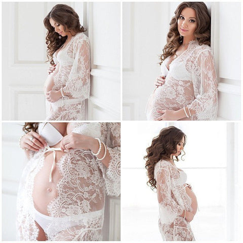 Maternity Mama Gown Eyelashes Lace Transperant Maternity Dresses Studio Photo Shoot Clothes Maternity Photography Props Gown