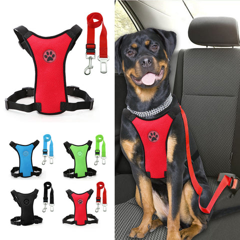 Safety Vehicle Car Harness With Adjustable Straps Dog Walking Harness With Car Automotive Seat Safety Belt For Medium Large Dogs