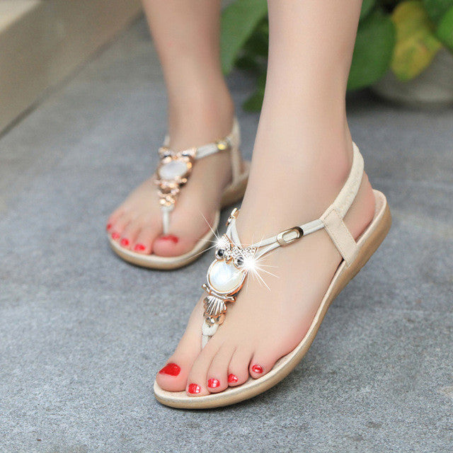 fec57e614640af 2016 Women Sandals Elastic T-strap Bohemia Beaded Owl Slipper Women Flat Sandals  Women Flip