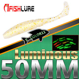 15pcs/lot Luminous Paddle Tail Soft Grubs 1g 50mm Glow in Dark T Tail Lure Jig Head soft lure for bass Fishing Mandarin fishing