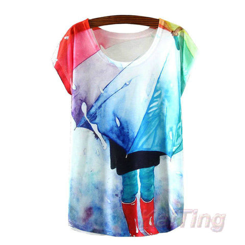 KaiTingu 2017 New Fashion Vintage Spring Summer T Shirt Women Clothing Tops Animal Owl Print T-shirt Printed White Woman Clothes