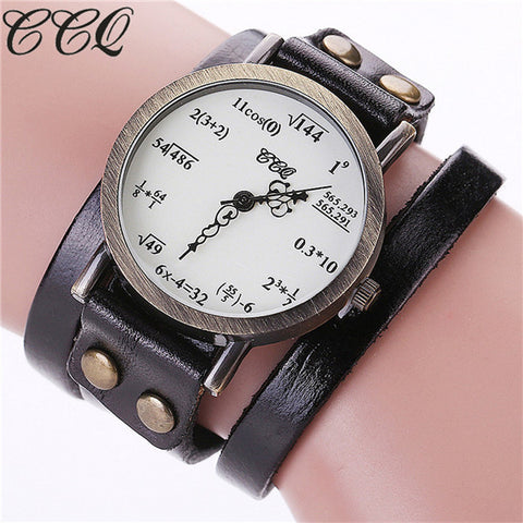 CCQ Brand Fashion Vintage Creative Leather Math Formula Equation Watch Casual Women Bracelet Quartz Watch Relogio Feminino C92