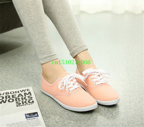 Lady candy color flat shoes with non-slip cow muscle casual shoes new women shoes multicolor canvas shoes  Large size 35 - 42