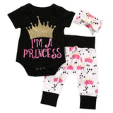 New Infant Baby Girls Crown Tops Bodysuits Pants Leggings Headband 3pcs Cute Clothing Baby Girl Outfits Set