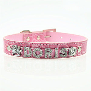 Croc Dog Cat Pet Personalized PU Leather Name Collar Chihuahua Yorkie Poodle Maltese Shih Tzu Pug Beagle Labrador Siberian Husky