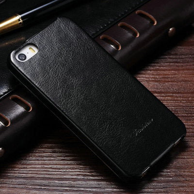 Flip PU Leather Case for iPhone 5s 5 S SE Retro Back Cover Coque with Fashion Logo Phone Bag Cases For iPhone 5 5SE Luxury
