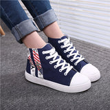 Flat Heels High Top Canvas Women Shoes Espadrilles Spring Autumn Women's Flats Lace Up Casual Shoes For Female Sapatilha YD87
