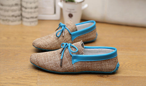 Men Shoes Spring Summer Breathable Fashion Weaving Men Casual Flat Home Use Shoes Lace-Up Loafers Comfortable Shoes Gd1SB32