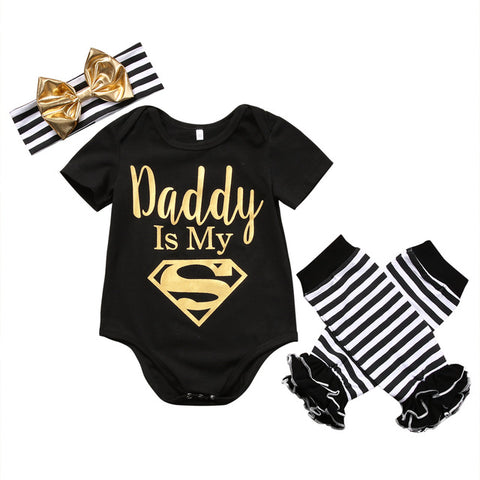 Dad is My Superman Newborn Infant Baby Girls Clothes Short Sleeve Romper Striped Legging Warmer Headwear 3PCS Outfit Clothing