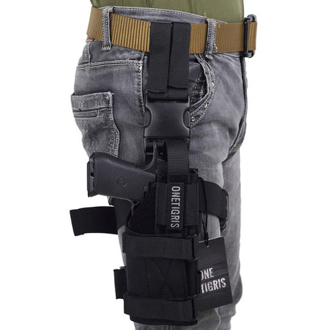 OneTigris Tactical Molle Drop Leg Platform & Handgun Pistol Holster Airsoft Paintball Right Handed Holster