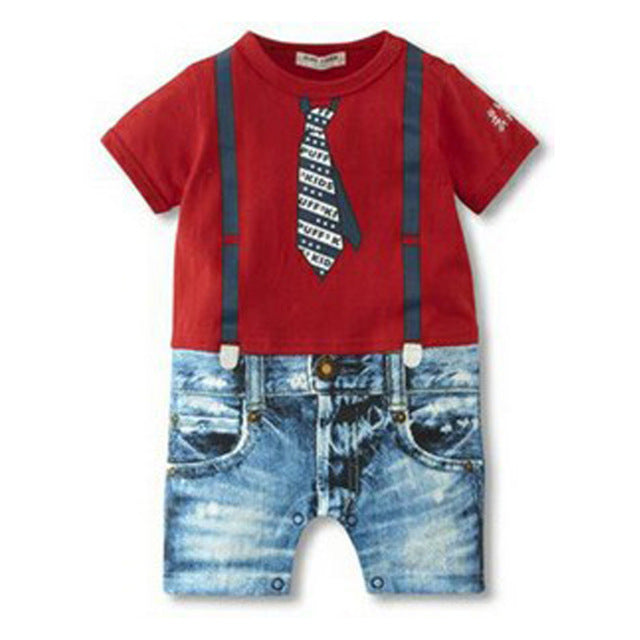 2d30a15527b50 2017 Baby Boy Rompers Summer Baby Boy Clothing Sets Newborn Baby Clothes  Gentleman Boy Clothing Roupas Bebes Infant Jumpsuits