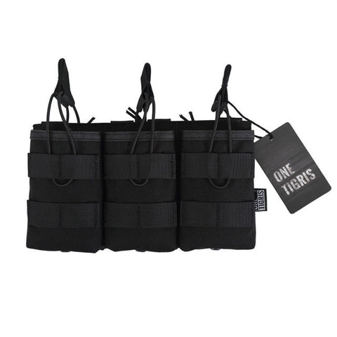 OneTigris Tactical MOLLE Triple Open-Top Magazine Pouch FAST AK AR M4 FAMAS Mag Pouch Airsoft Military Paintball Equipment