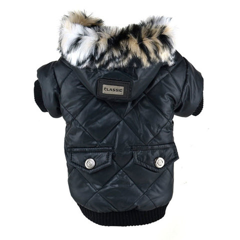 Large Puppy Dog Faux Pockets Fur Trimmed Dog Hoodies Jacket Costume Cute Warm Coat For Pet