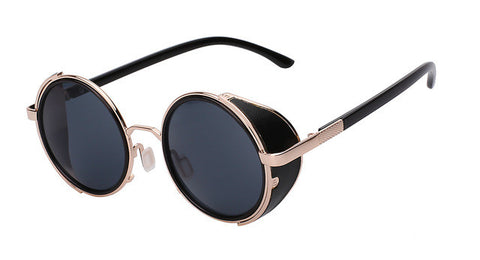 XIU Sunglasses Steampunk Men Sunglass Retro Vintage Round Metal Wrap Sunglasses Brand Designer Glasses UV400