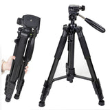 Professional Aluminum Alloy SLR Three Camera Folding Portable Tripod with Ball Head Bag Travel for DSLR Black Q111