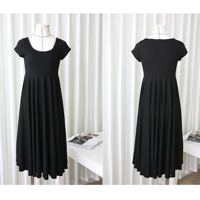 1974696367d0e Summer Fashion Maternity Dresses Clothes For Pregnant Women Clothing O-neck  Short Sleeve 4 Colors